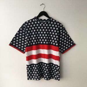 90's Vintage Graphic Tee Shirt Star USA Blue Crew